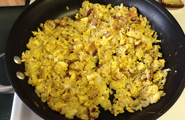 bacon eggs hash brown slop breakfast