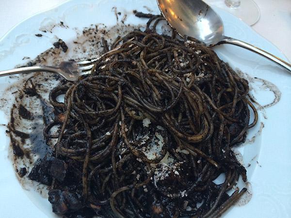 black squid ink cuttlefish spaghetti