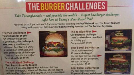 burger challenges dennys beer barrel pub