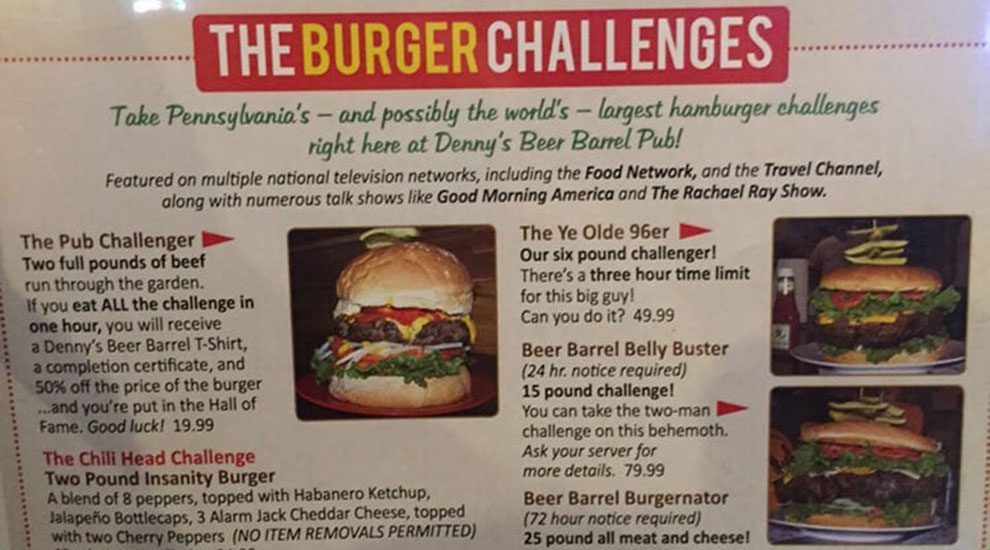 burger challenges dennys beer barrel pub